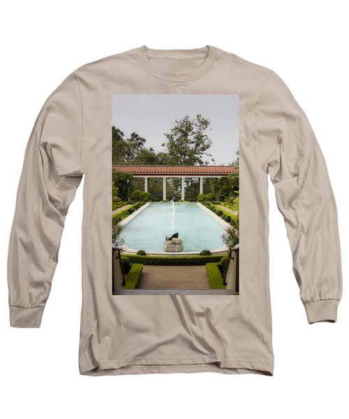Outer Peristyle Pool And Fountain Getty Villa Long Sleeve T-Shirt
