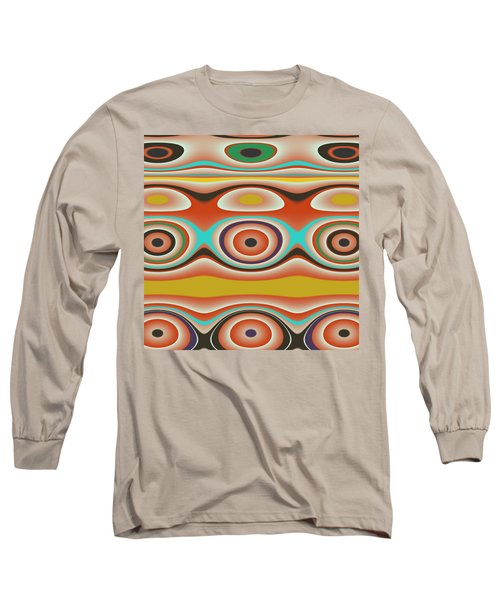 Ovals And Circles Pattern Design Long Sleeve T-Shirt by Jessica Wright