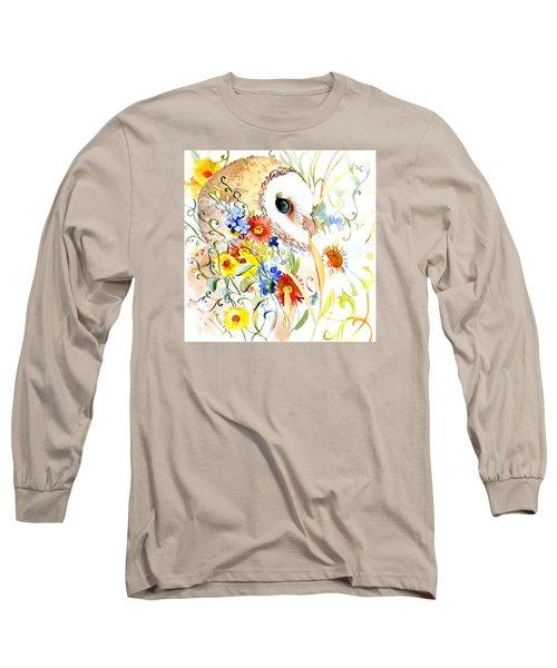 Owl And Flowers Long Sleeve T-Shirt by Suren Nersisyan
