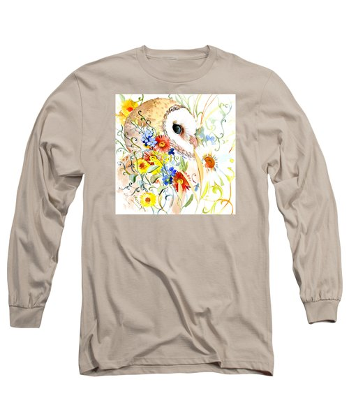 Owl And Flowers Long Sleeve T-Shirt