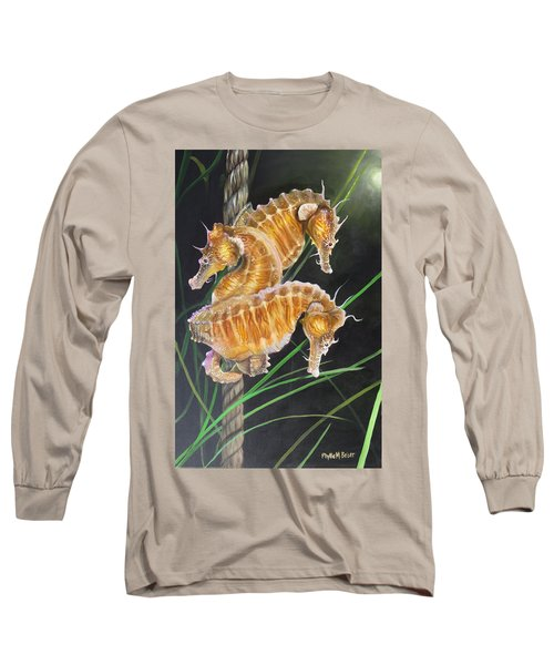 Pacific Lined Seahorse Trio Long Sleeve T-Shirt by Phyllis Beiser