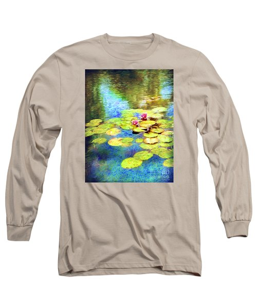 Long Sleeve T-Shirt featuring the digital art Painted Lilypads by Linda Olsen