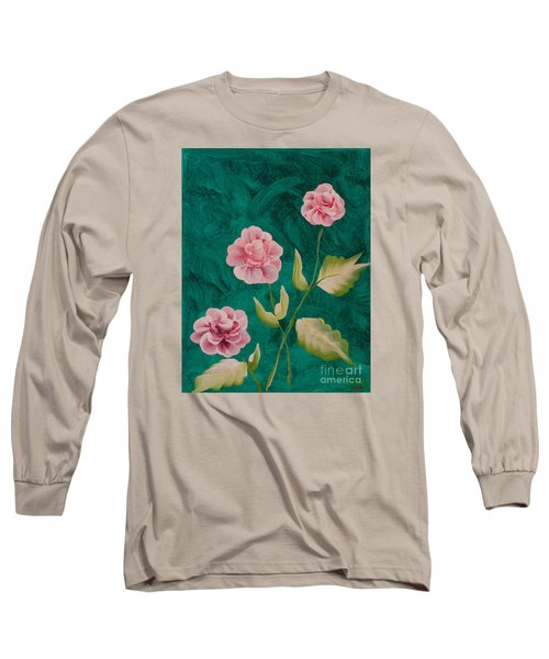 Painted Roses Long Sleeve T-Shirt by Donna Brown
