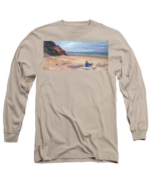 Painting The Coast - Scenic Landscape With Figure Long Sleeve T-Shirt