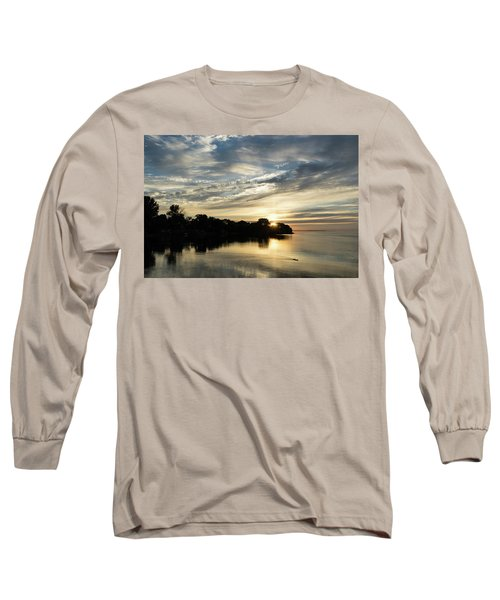 Pale Gold Sunrays - A Cloudy Sunrise With Two Ducks Long Sleeve T-Shirt