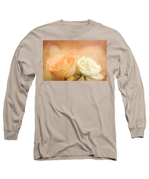 Pale Peach And White Roses Long Sleeve T-Shirt by Marsha Heiken