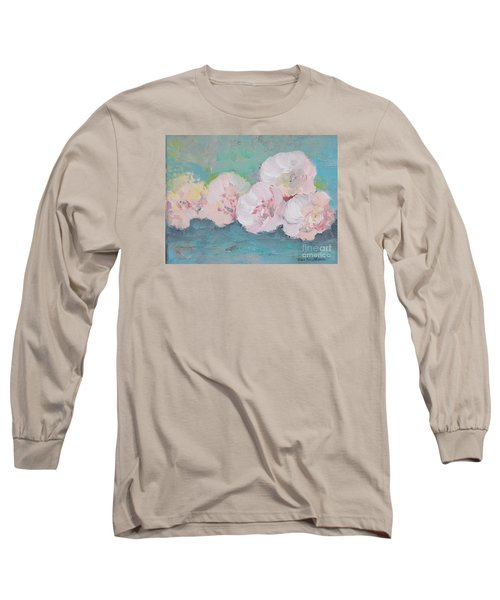 Pale Pink Peonies Long Sleeve T-Shirt by Robin Maria Pedrero
