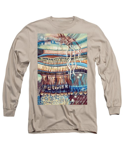 Long Sleeve T-Shirt featuring the painting Palm Contractions by Kerryn Madsen-Pietsch