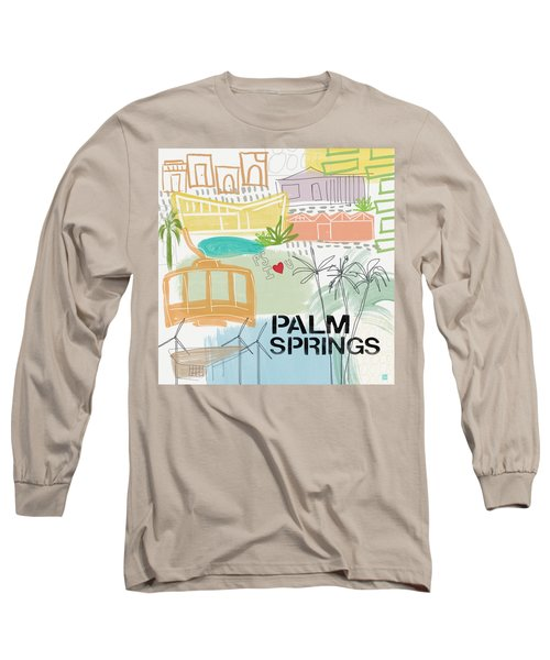 Palm Springs Cityscape- Art By Linda Woods Long Sleeve T-Shirt