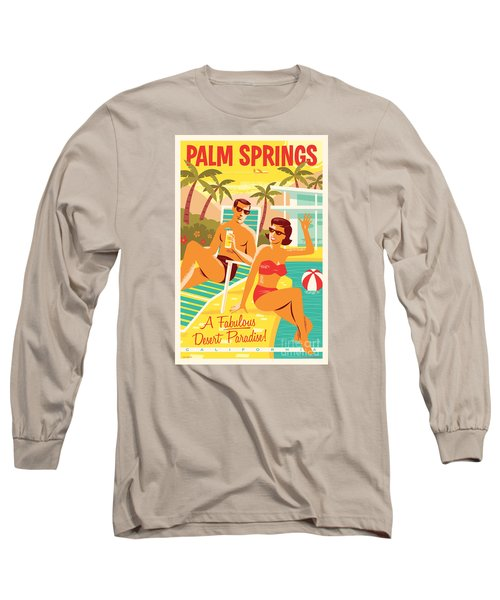 Palm Springs Retro Travel Poster Long Sleeve T-Shirt