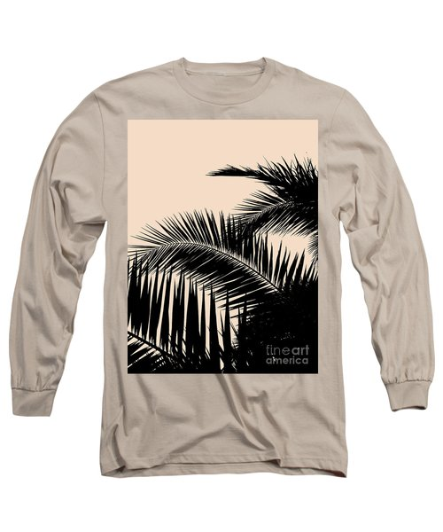 Palms On Pale Pink Long Sleeve T-Shirt