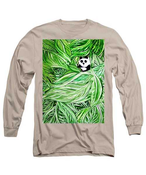 Panda Bear Sitting In Leaves Alcohol Inks Long Sleeve T-Shirt