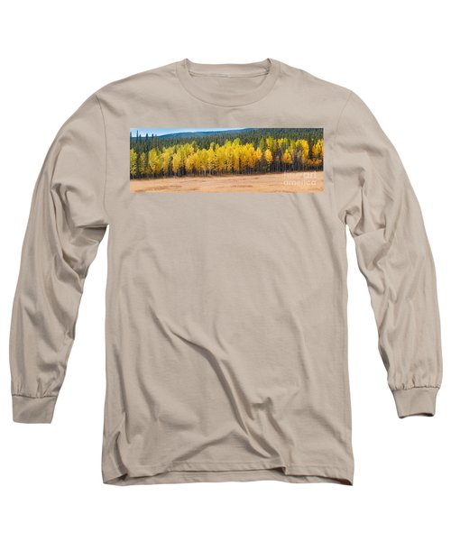Panorama Of Aspen Grove Fall Foliage Peak To Peak Highway - Rocky Mountains Colorado State Long Sleeve T-Shirt