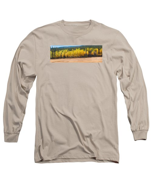 Panorama Of Aspen Grove Fall Foliage Peak To Peak Highway - Rocky Mountains Colorado State Long Sleeve T-Shirt