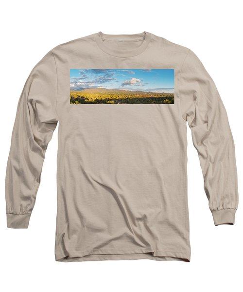 Panorama Of Santa Fe And Sangre De Cristo Mountains - New Mexico Land Of Enchantment Long Sleeve T-Shirt