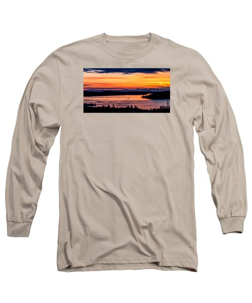 Panoramic Sunset Over Hail Passage E Series On The Puget Sound Long Sleeve T-Shirt by Rob Green