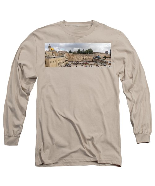Panoramic View Of The Wailing Wall In The Old City Of Jerusalem Long Sleeve T-Shirt