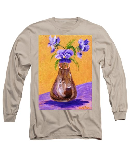 Pansies In Brown Vase Long Sleeve T-Shirt by Jamie Frier