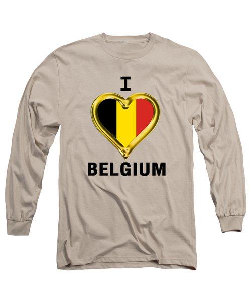 Parchment Background I Heart Belgium Long Sleeve T-Shirt