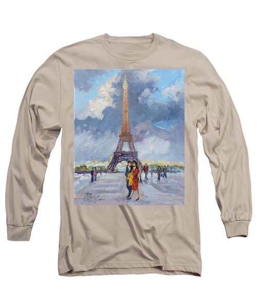 Paris Eiffel Tower Long Sleeve T-Shirt by Irek Szelag