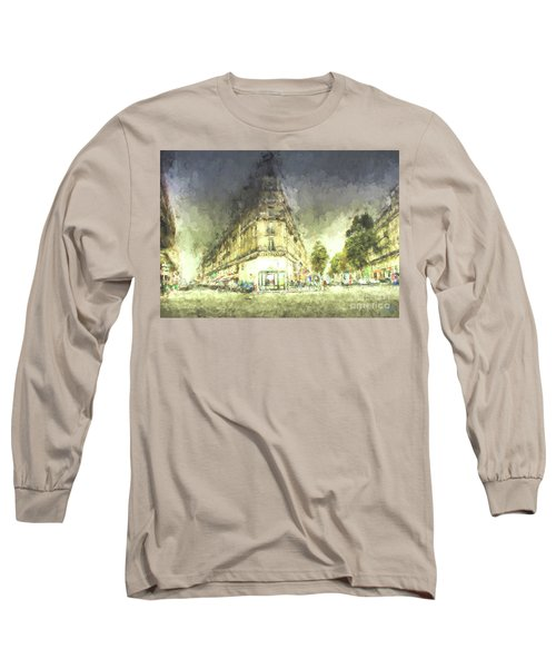 Long Sleeve T-Shirt featuring the mixed media Paris Streets by Jim  Hatch