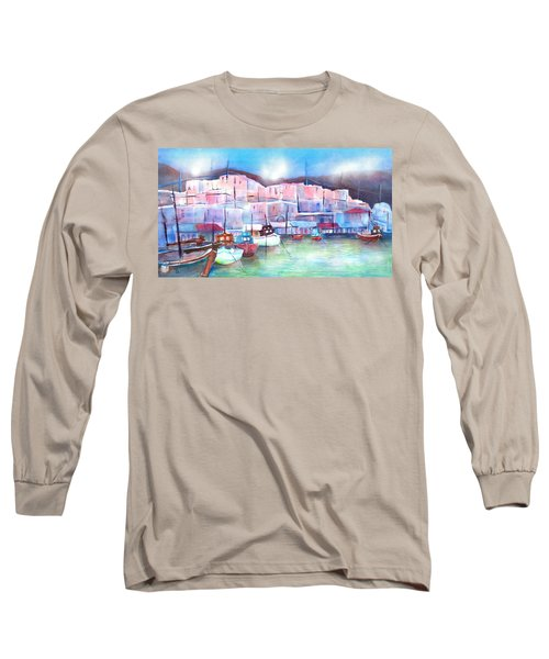 Greek Island Paros Naoussa Harbor Long Sleeve T-Shirt