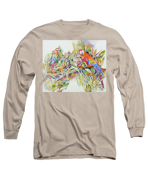 Parrots In Paradise Long Sleeve T-Shirt by Mary Haley-Rocks