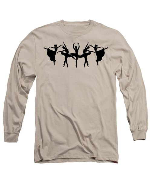 Passionate Dance Ballerina Silhouettes Long Sleeve T-Shirt