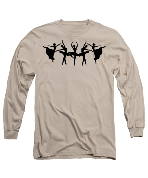 Passionate Dance Ballerina Silhouettes Long Sleeve T-Shirt