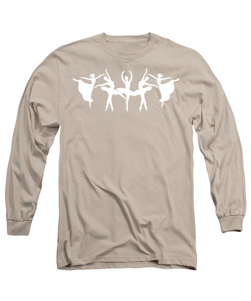 Passionate Dance Ballerinas Silhouettes In White Long Sleeve T-Shirt