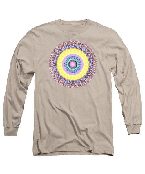 Pastel Peacock Fractal Flower Long Sleeve T-Shirt