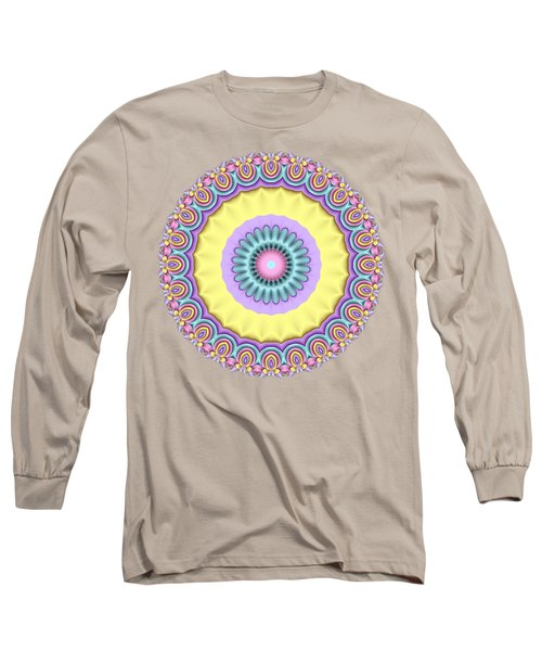 Pastel Peacock Fractal Flower Long Sleeve T-Shirt
