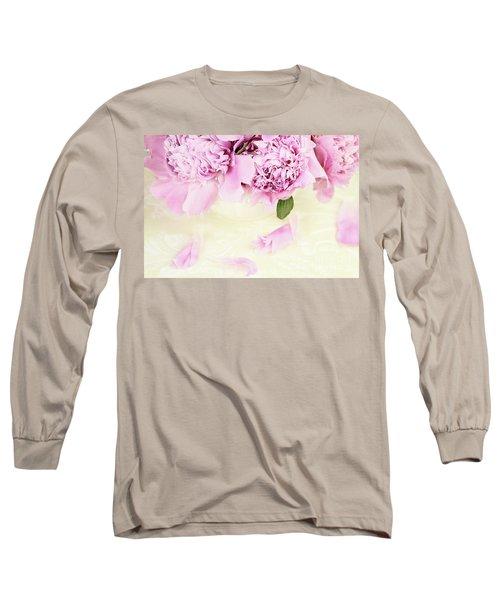 Pastel Pink Peonies  Long Sleeve T-Shirt by Stephanie Frey