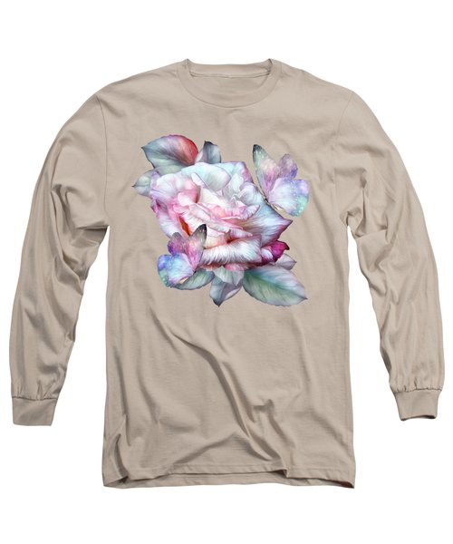 Long Sleeve T-Shirt featuring the mixed media Pastel Rose And Butterflies by Carol Cavalaris