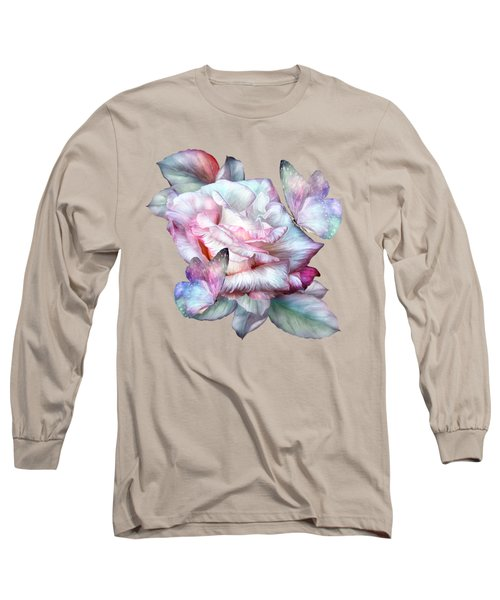 Pastel Rose And Butterflies Long Sleeve T-Shirt