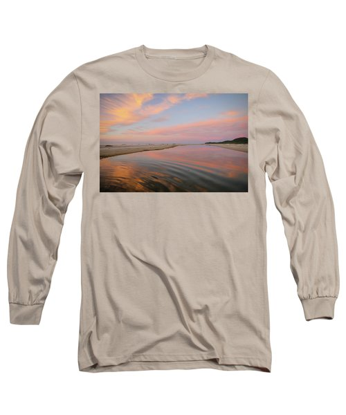 Pastel Skies And Beach Lagoon Reflections Long Sleeve T-Shirt