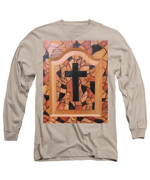 Patchwork And Cross Long Sleeve T-Shirt
