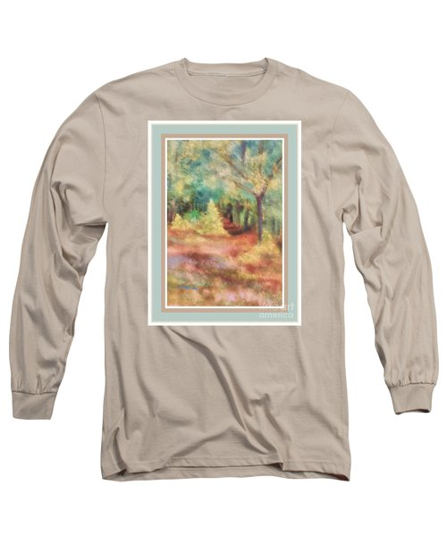 Long Sleeve T-Shirt featuring the photograph Path Shortcut Green Border by Shirley Moravec
