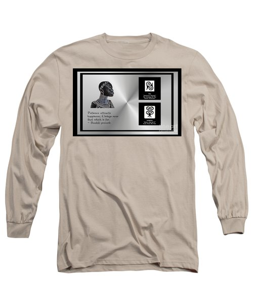 Long Sleeve T-Shirt featuring the digital art Patience Attracts Happiness by Jacqueline Lloyd