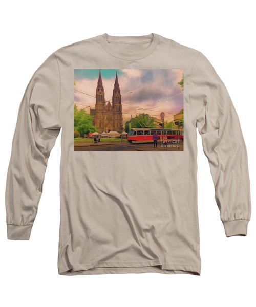 Long Sleeve T-Shirt featuring the photograph Peace Square Prague by Leigh Kemp