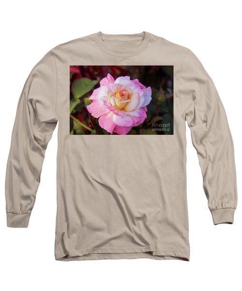 Peach And White Rose Long Sleeve T-Shirt