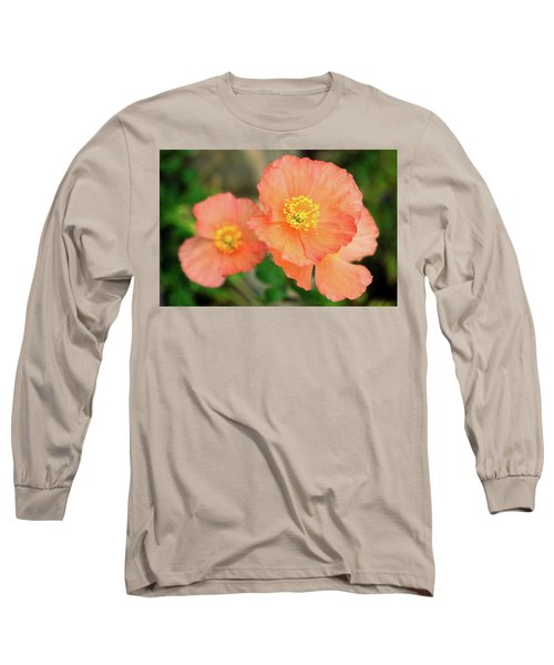 Long Sleeve T-Shirt featuring the photograph Peach Poppies by Sally Weigand