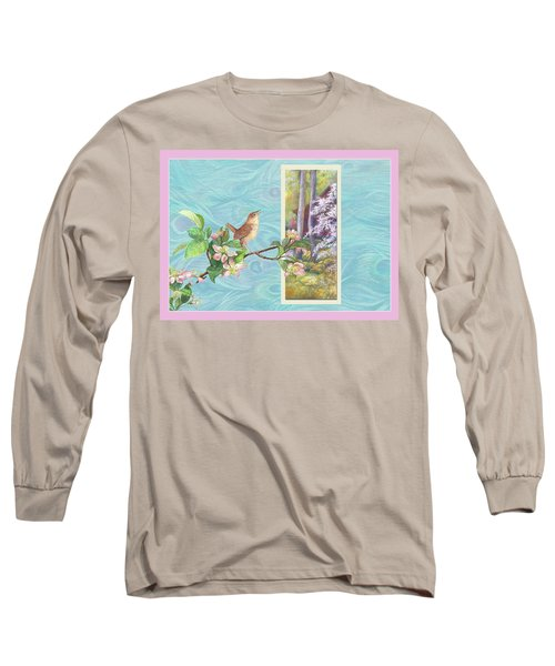 Peacock And Cherry Blossom With Wren Long Sleeve T-Shirt by Judith Cheng
