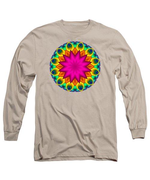 Peacock Fractal Flower I Long Sleeve T-Shirt