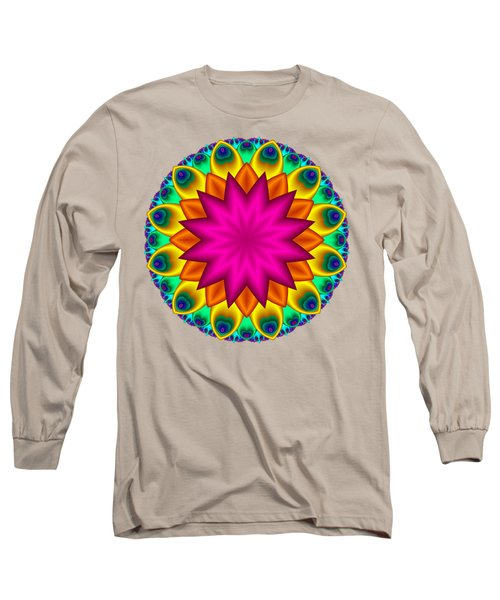 Peacock Fractal Flower I Long Sleeve T-Shirt