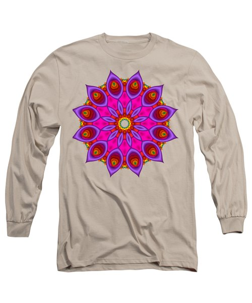 Peacock Fractal Flower II Long Sleeve T-Shirt