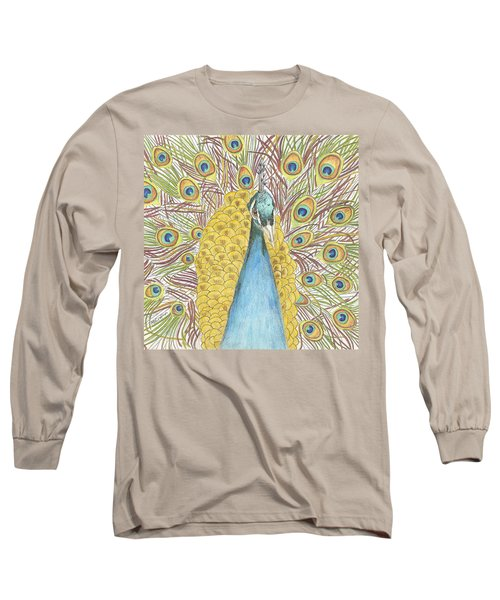 Long Sleeve T-Shirt featuring the drawing Peacock Two by Arlene Crafton