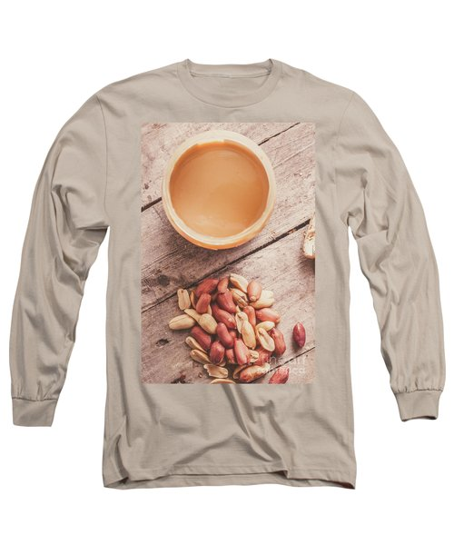 Peanut Butter Jar With Peanuts On Wooden Surface Long Sleeve T-Shirt