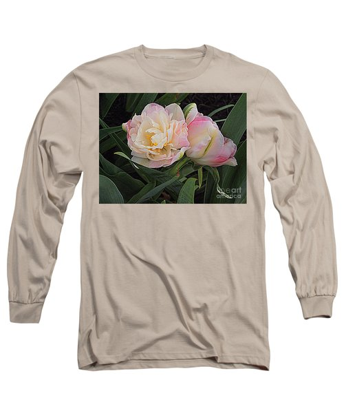 Long Sleeve T-Shirt featuring the photograph Peony Tulip Duet by Nancy Kane Chapman