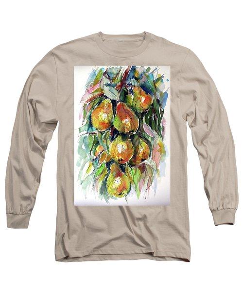 Long Sleeve T-Shirt featuring the painting Pear by Kovacs Anna Brigitta